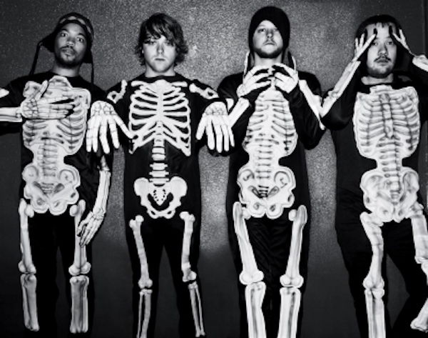 does-it-offend-you-yeah wearing skeleton costumes