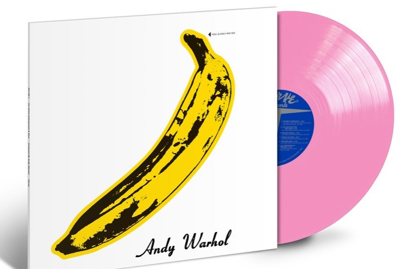 The Velvet Underground and Nico album cover with banana by Andy Warhol, and the new reissued pink vinyl