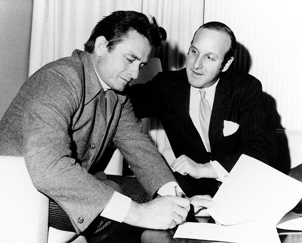 Johnny Cash and Clive Davis
