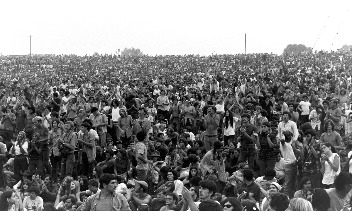 Fans at the Woodstock Music & Art Fair held at Max Yasgur's dairy farm in August, 1969 near White Lake a hamlet of Bethel, New York.