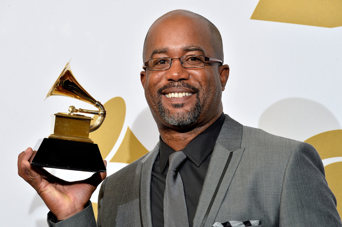 Singer Darius Rucker, winner of Best Country Solo Performance for 'Wagon Wheel,' poses in the press room during the 56th GRAMMY Awards at Staples Center on January 26, 2014 in Los Angeles, California.