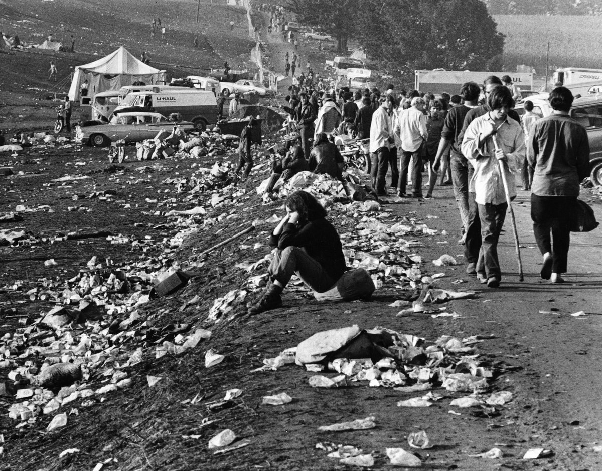 The scene on the grounds is pictured at the conclusion of the Woodstock Music Festival in White Lake, NY on Aug. 18, 1969.