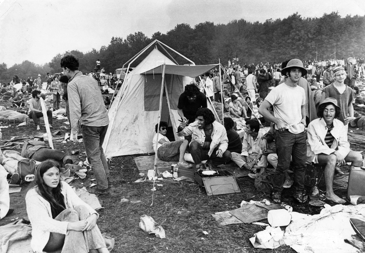 Audience members are pictured at the Woodstock Music Festival in White Lake, NY on Aug. 17, 1969.