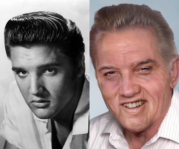 A younger Elvis is compared to a gray haired, wrinklier version that still wears the same smirk