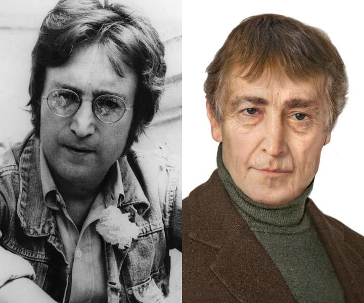 A black and white photo of John Lennon is compared to a CGI version where he's older and without glasses