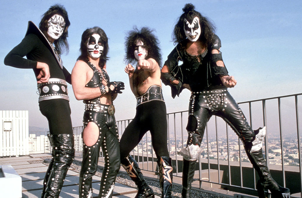 KISS posing on a Los Angeles rooftop
