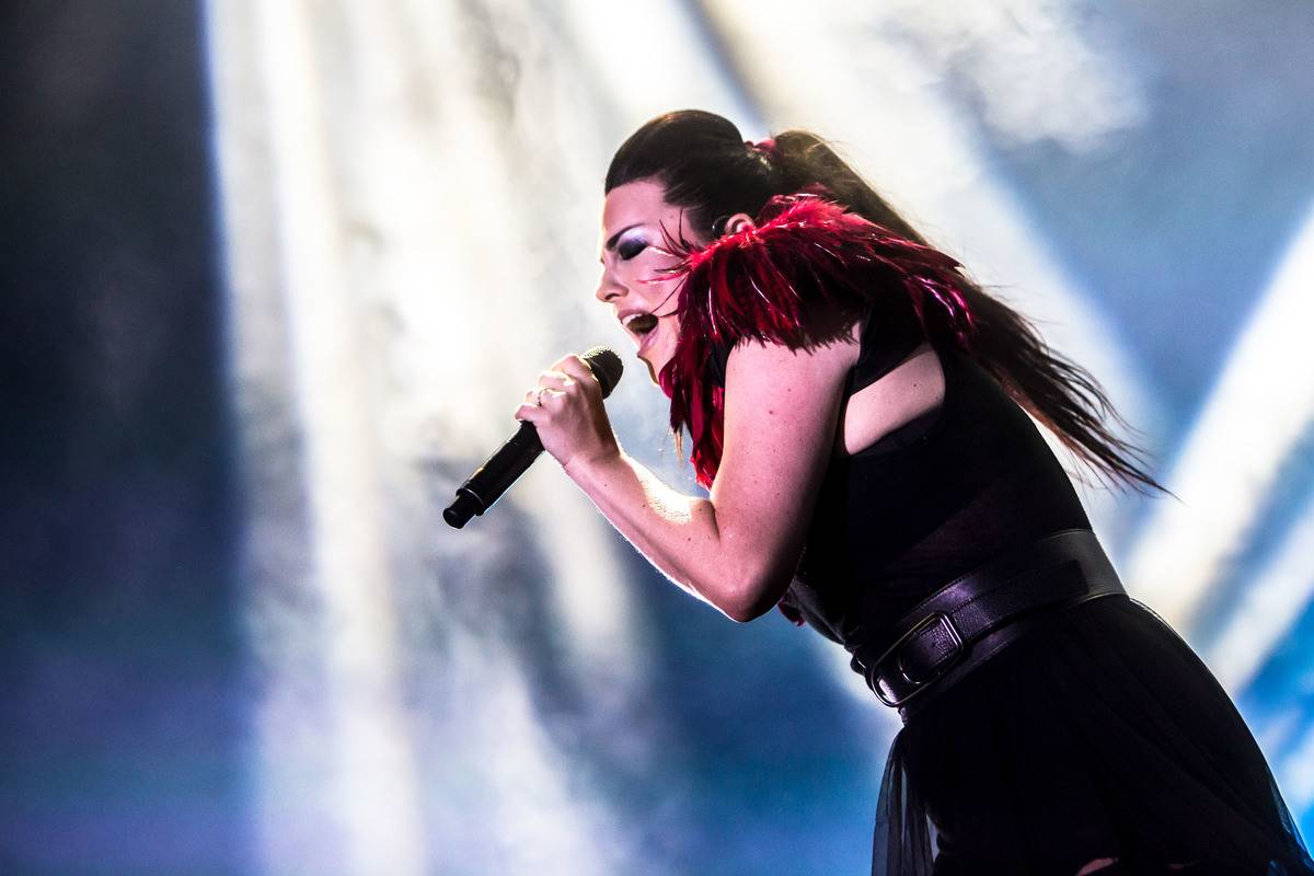 Amy Lee during performance. Rock band Evanescence performs...